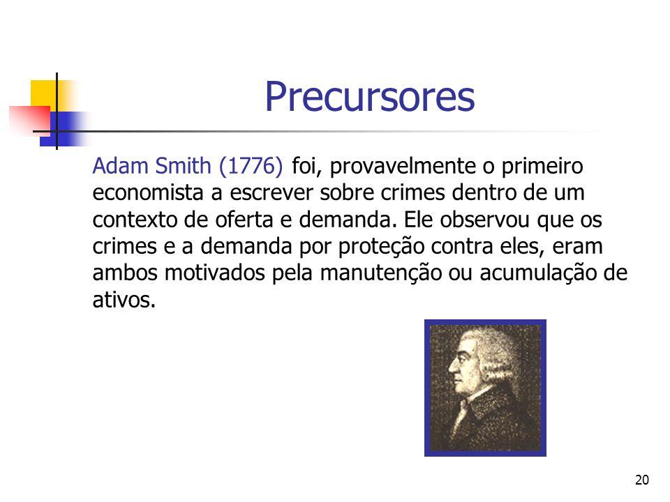 20 Precursores Adam Smith (1776) foi, provavelmente o primeiro economista a escrever sobre crimes dentro de um contexto de oferta e demanda. Ele obser
