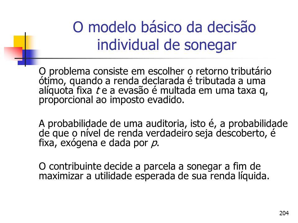 204 O modelo básico da decisão individual de sonegar O problema consiste em escolher o retorno tributário ótimo, quando a renda declarada é tributada