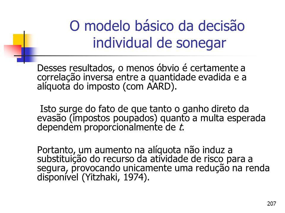 207 O modelo básico da decisão individual de sonegar Desses resultados, o menos óbvio é certamente a correlação inversa entre a quantidade evadida e a