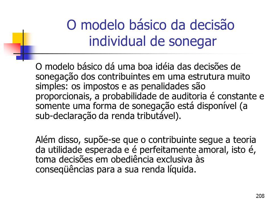 208 O modelo básico da decisão individual de sonegar O modelo básico dá uma boa idéia das decisões de sonegação dos contribuintes em uma estrutura mui