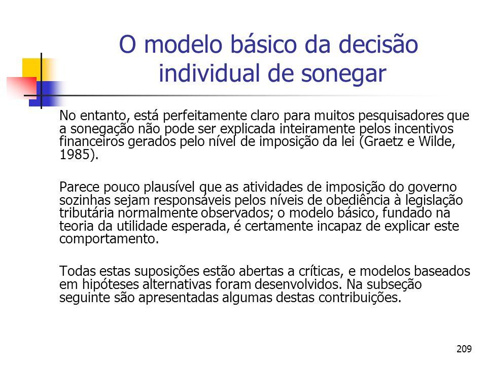 209 O modelo básico da decisão individual de sonegar No entanto, está perfeitamente claro para muitos pesquisadores que a sonegação não pode ser expli