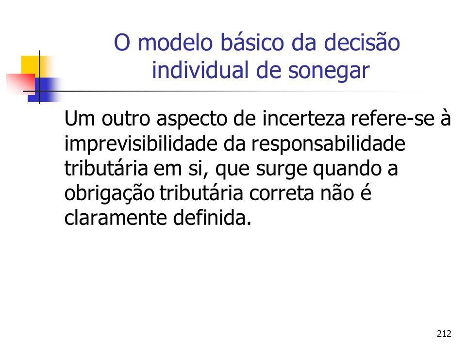 212 O modelo básico da decisão individual de sonegar Um outro aspecto de incerteza refere-se à imprevisibilidade da responsabilidade tributária em si,