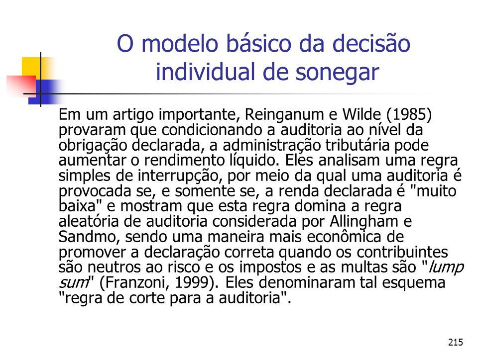 215 O modelo básico da decisão individual de sonegar Em um artigo importante, Reinganum e Wilde (1985) provaram que condicionando a auditoria ao nível
