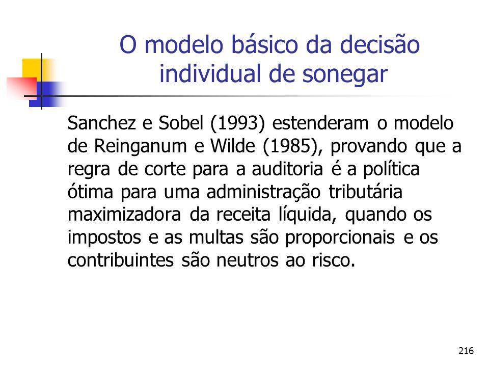 216 O modelo básico da decisão individual de sonegar Sanchez e Sobel (1993) estenderam o modelo de Reinganum e Wilde (1985), provando que a regra de c
