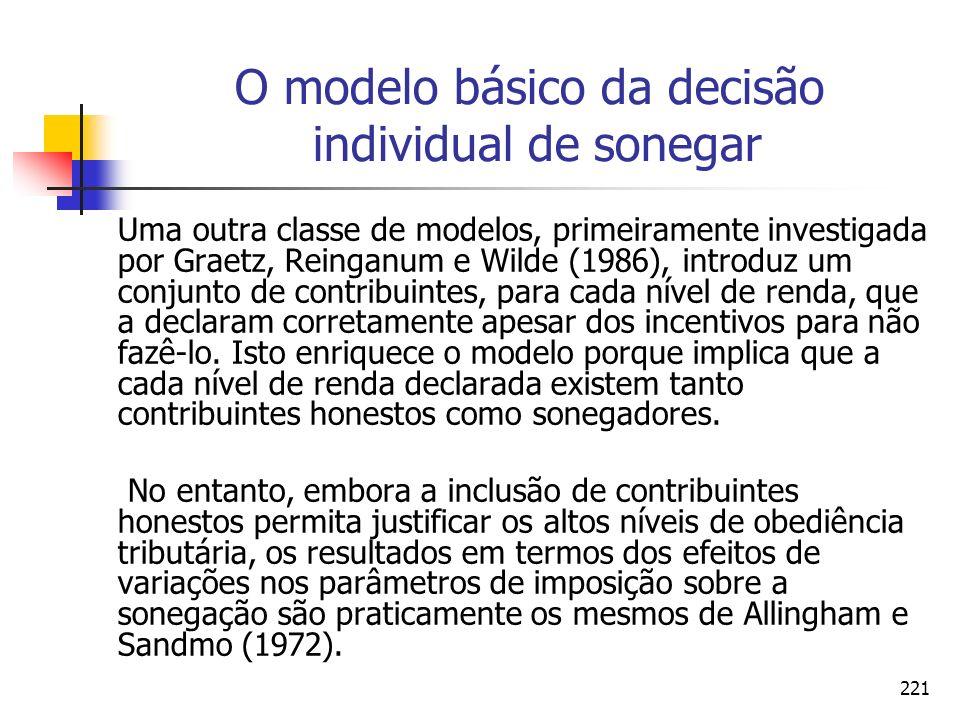221 O modelo básico da decisão individual de sonegar Uma outra classe de modelos, primeiramente investigada por Graetz, Reinganum e Wilde (1986), intr