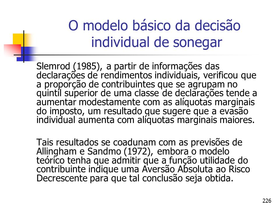 226 O modelo básico da decisão individual de sonegar Slemrod (1985), a partir de informações das declarações de rendimentos individuais, verificou que
