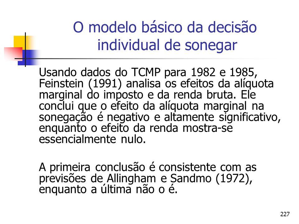 227 O modelo básico da decisão individual de sonegar Usando dados do TCMP para 1982 e 1985, Feinstein (1991) analisa os efeitos da alíquota marginal d