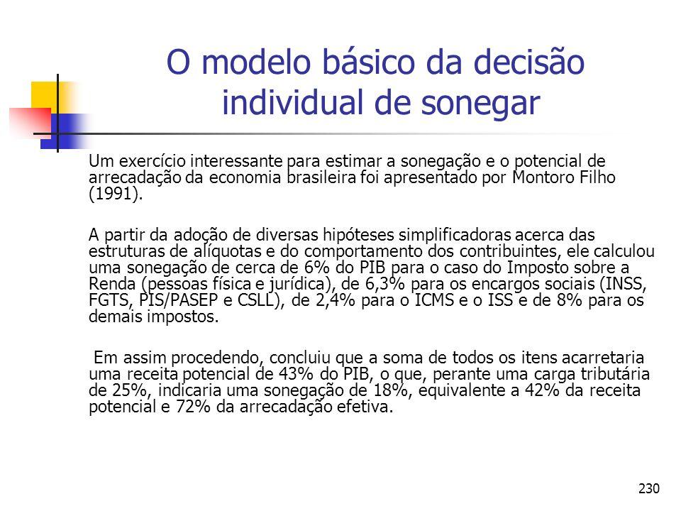 230 O modelo básico da decisão individual de sonegar Um exercício interessante para estimar a sonegação e o potencial de arrecadação da economia brasi