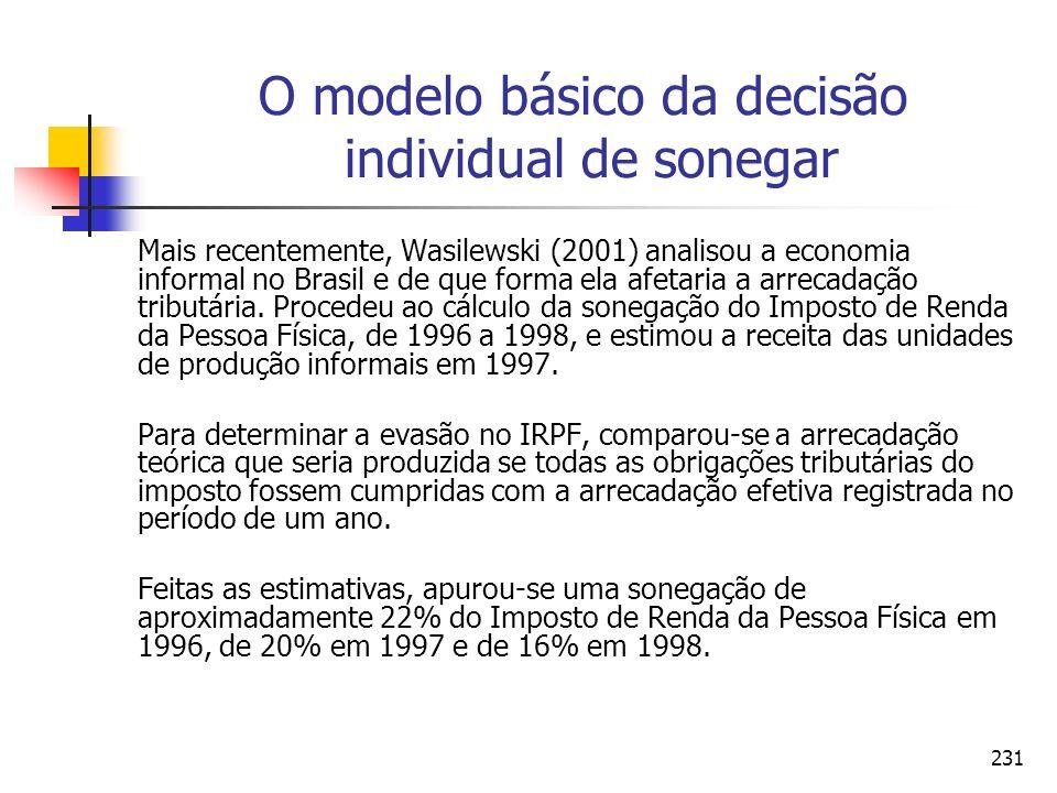 231 O modelo básico da decisão individual de sonegar Mais recentemente, Wasilewski (2001) analisou a economia informal no Brasil e de que forma ela af