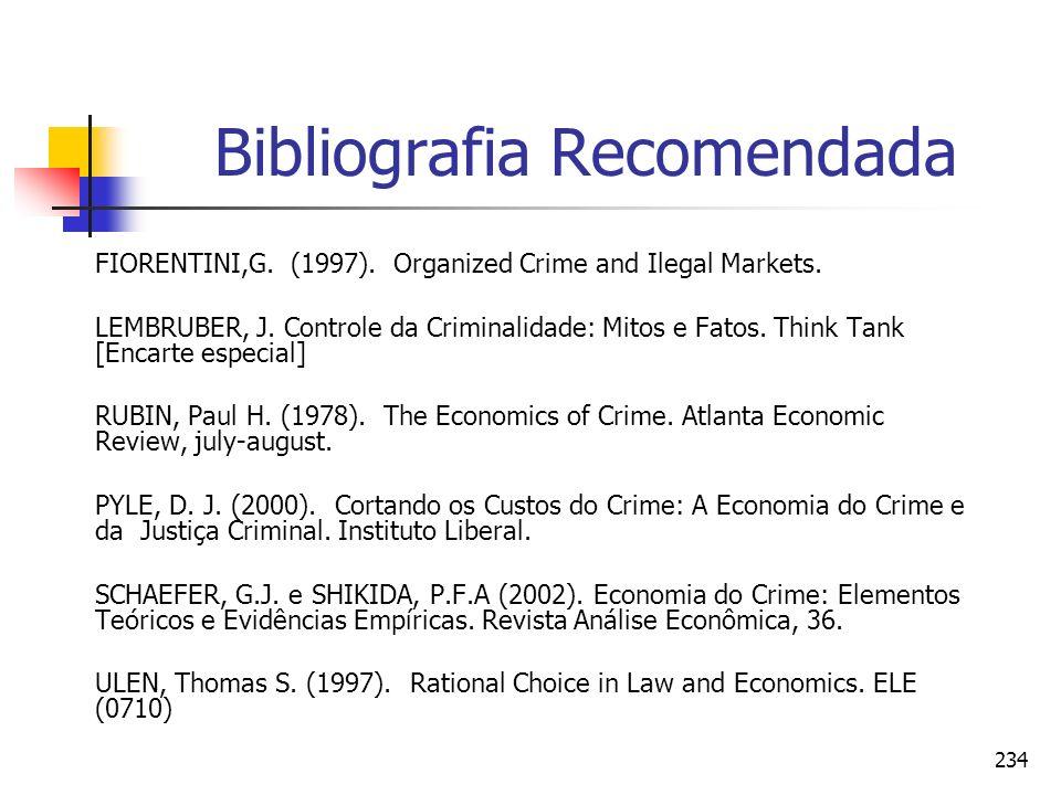234 Bibliografia Recomendada FIORENTINI,G. (1997). Organized Crime and Ilegal Markets. LEMBRUBER, J. Controle da Criminalidade: Mitos e Fatos. Think T
