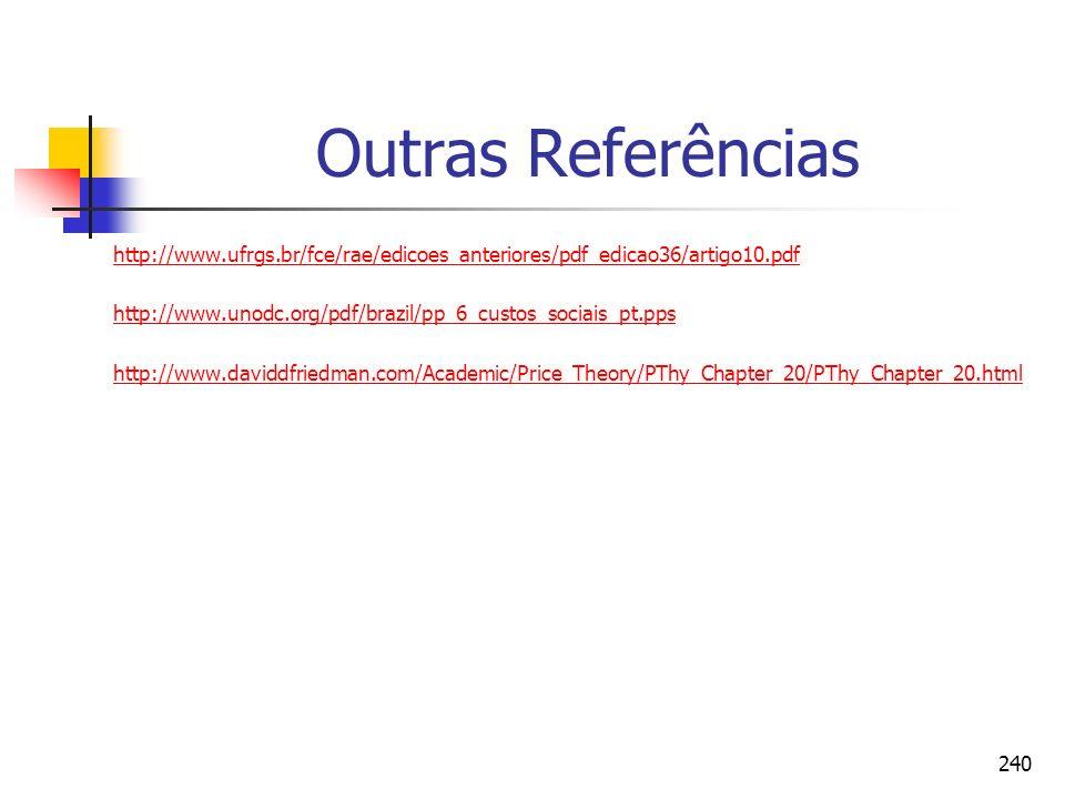 240 Outras Referências http://www.ufrgs.br/fce/rae/edicoes_anteriores/pdf_edicao36/artigo10.pdf http://www.unodc.org/pdf/brazil/pp_6_custos_sociais_pt