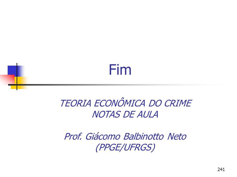 241 Fim TEORIA ECONÔMICA DO CRIME NOTAS DE AULA Prof. Giácomo Balbinotto Neto (PPGE/UFRGS)