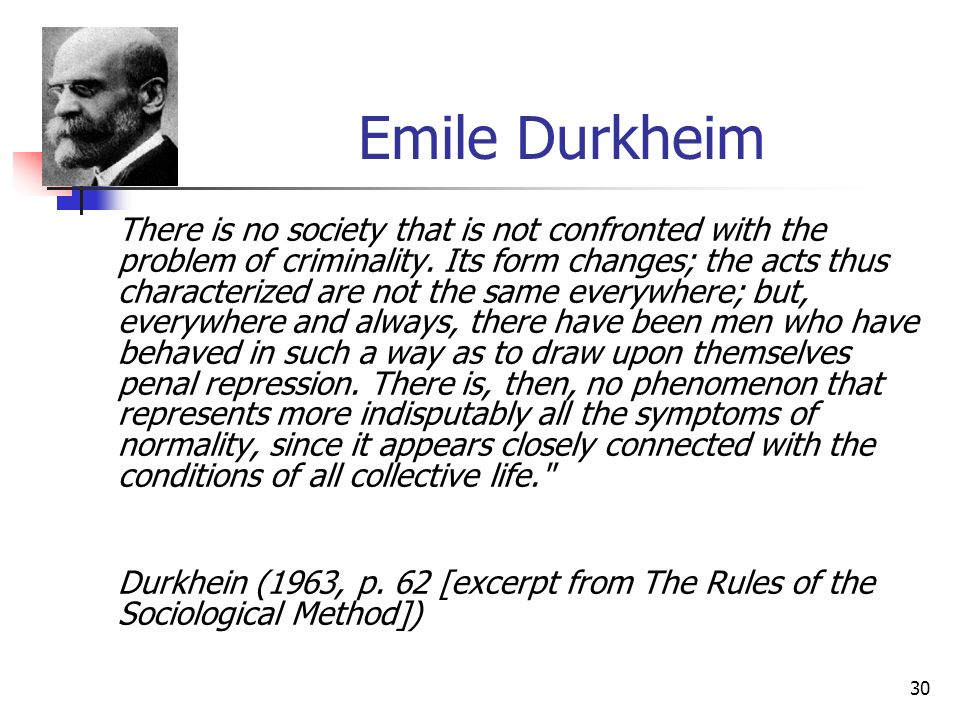 30 Emile Durkheim There is no society that is not confronted with the problem of criminality. Its form changes; the acts thus characterized are not th