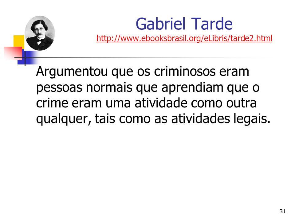 31 Gabriel Tarde http://www.ebooksbrasil.org/eLibris/tarde2.html http://www.ebooksbrasil.org/eLibris/tarde2.html Argumentou que os criminosos eram pes