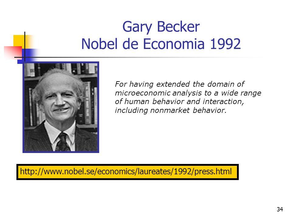 34 Gary Becker Nobel de Economia 1992 http://www.nobel.se/economics/laureates/1992/press.html For having extended the domain of microeconomic analysis