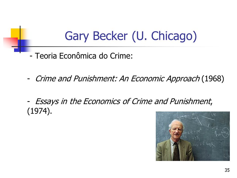 35 Gary Becker (U. Chicago) - Teoria Econômica do Crime: - Crime and Punishment: An Economic Approach (1968) - Essays in the Economics of Crime and Pu