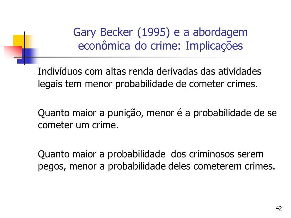 42 Gary Becker (1995) e a abordagem econômica do crime: Implicações Indivíduos com altas renda derivadas das atividades legais tem menor probabilidade