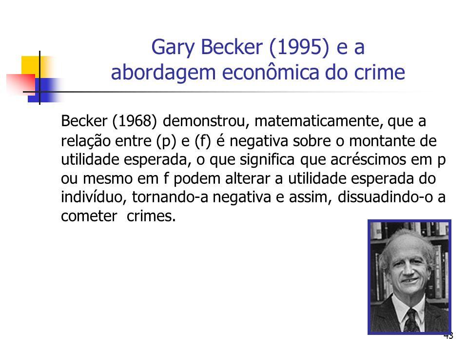 43 Gary Becker (1995) e a abordagem econômica do crime Becker (1968) demonstrou, matematicamente, que a relação entre (p) e (f) é negativa sobre o mon