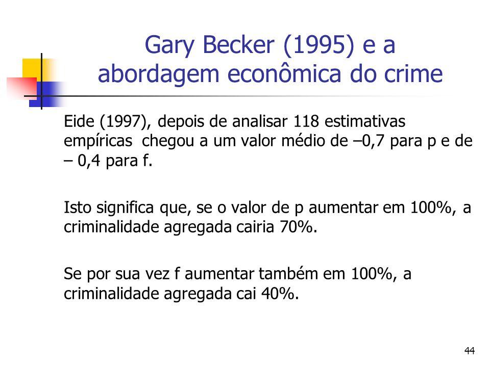 44 Gary Becker (1995) e a abordagem econômica do crime Eide (1997), depois de analisar 118 estimativas empíricas chegou a um valor médio de –0,7 para
