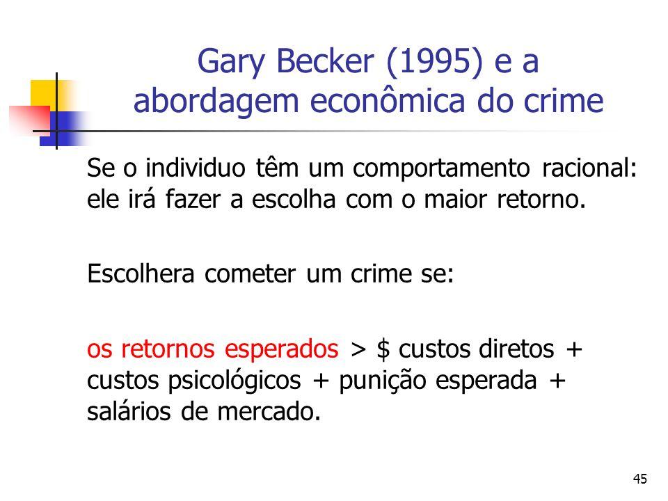 45 Gary Becker (1995) e a abordagem econômica do crime Se o individuo têm um comportamento racional: ele irá fazer a escolha com o maior retorno. Esco