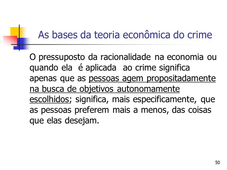 50 As bases da teoria econômica do crime O pressuposto da racionalidade na economia ou quando ela é aplicada ao crime significa apenas que as pessoas