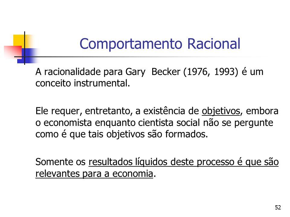 52 Comportamento Racional A racionalidade para Gary Becker (1976, 1993) é um conceito instrumental. Ele requer, entretanto, a existência de objetivos,