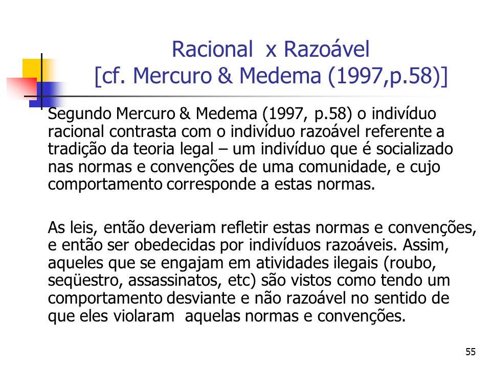 55 Racional x Razoável [cf. Mercuro & Medema (1997,p.58)] Segundo Mercuro & Medema (1997, p.58) o indivíduo racional contrasta com o indivíduo razoáve