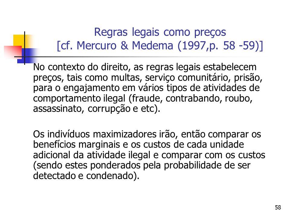 58 Regras legais como preços [cf. Mercuro & Medema (1997,p. 58 -59)] No contexto do direito, as regras legais estabelecem preços, tais como multas, se