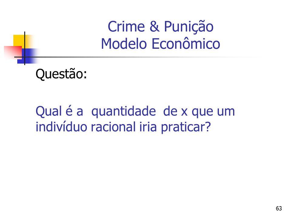 63 Crime & Punição Modelo Econômico Questão: Qual é a quantidade de x que um indivíduo racional iria praticar?