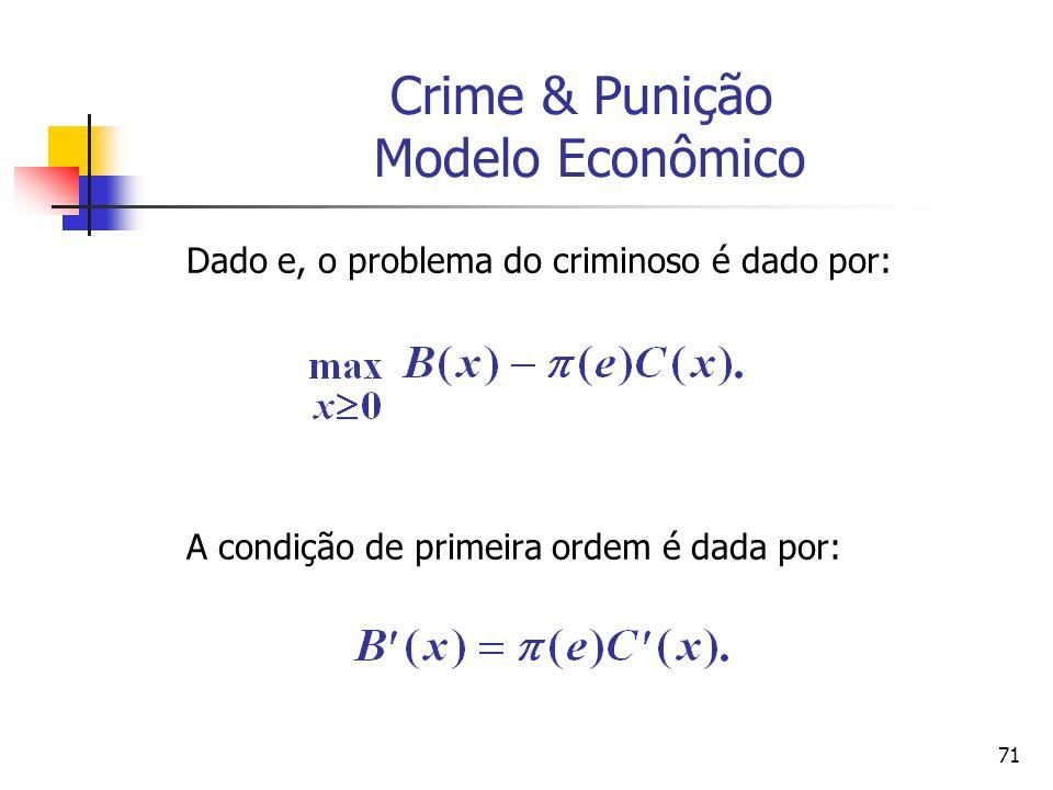 71 Crime & Punição Modelo Econômico Dado e, o problema do criminoso é dado por: A condição de primeira ordem é dada por: