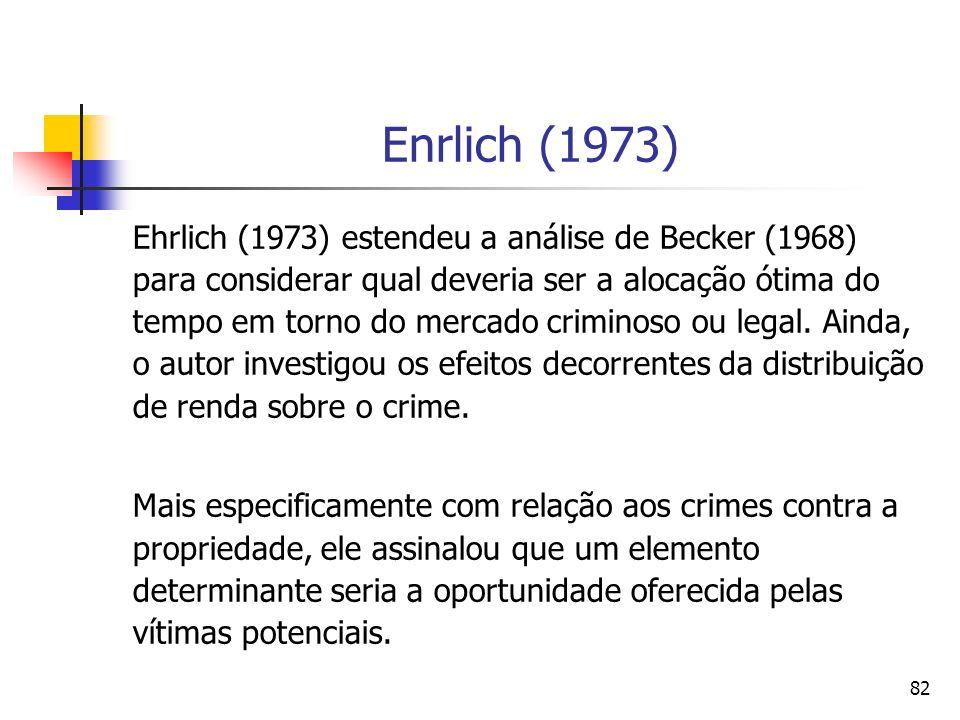 82 Enrlich (1973) Ehrlich (1973) estendeu a análise de Becker (1968) para considerar qual deveria ser a alocação ótima do tempo em torno do mercado cr
