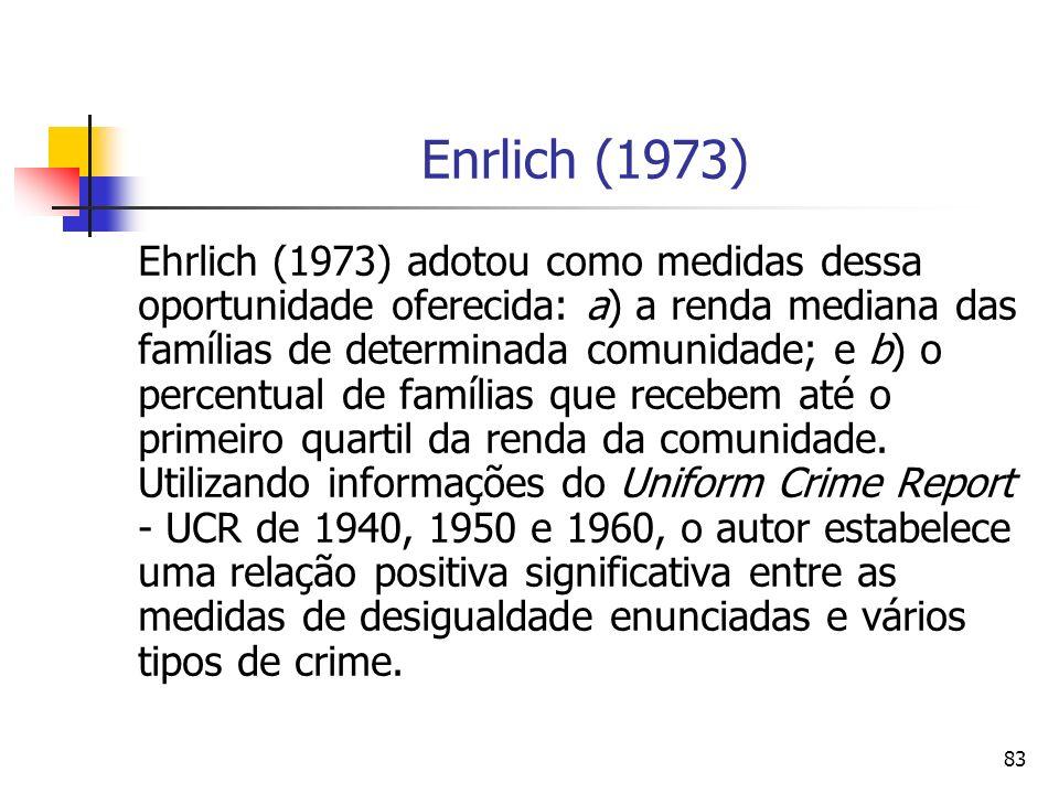 83 Enrlich (1973) Ehrlich (1973) adotou como medidas dessa oportunidade oferecida: a) a renda mediana das famílias de determinada comunidade; e b) o p