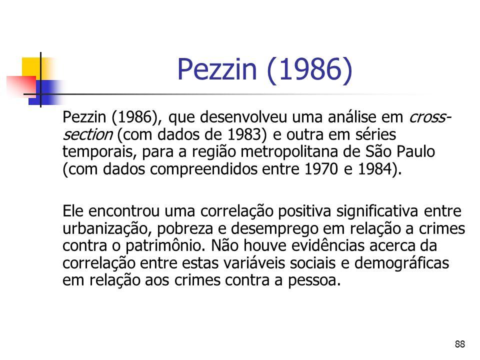88 Pezzin (1986) Pezzin (1986), que desenvolveu uma análise em cross- section (com dados de 1983) e outra em séries temporais, para a região metropoli