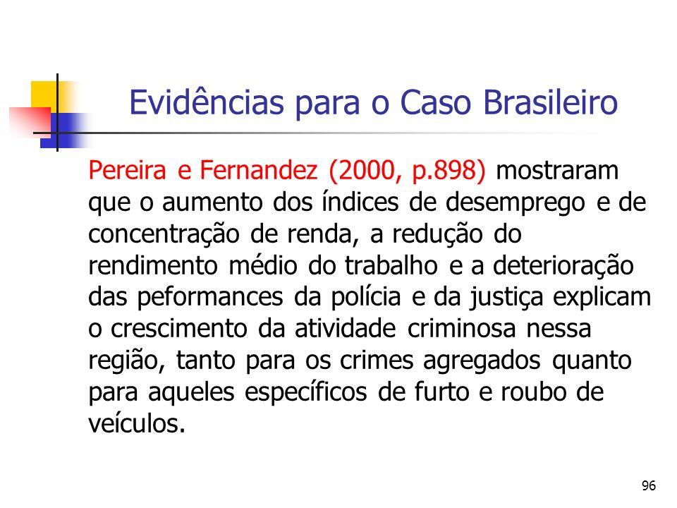 96 Evidências para o Caso Brasileiro Pereira e Fernandez (2000, p.898) mostraram que o aumento dos índices de desemprego e de concentração de renda, a