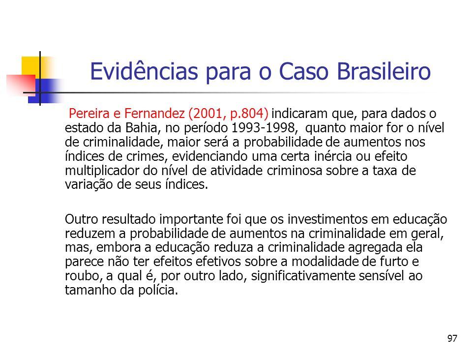 97 Evidências para o Caso Brasileiro Pereira e Fernandez (2001, p.804) indicaram que, para dados o estado da Bahia, no período 1993-1998, quanto maior
