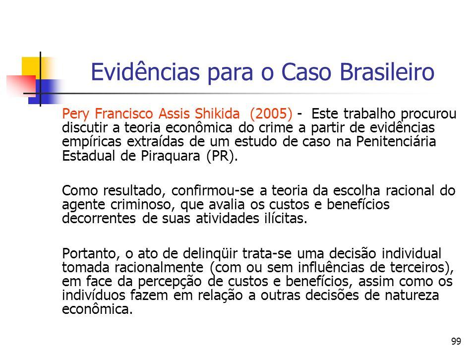 99 Evidências para o Caso Brasileiro Pery Francisco Assis Shikida (2005) - Este trabalho procurou discutir a teoria econômica do crime a partir de evi