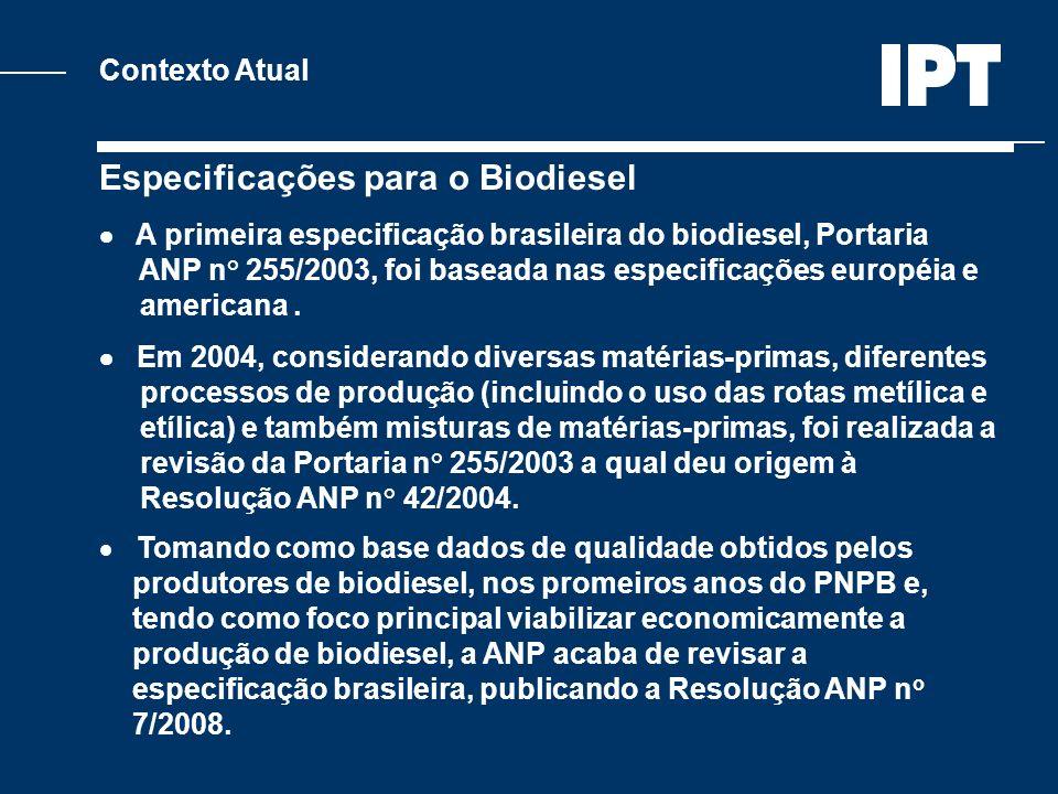Contexto Atual Especificações para o Biodiesel A primeira especificação brasileira do biodiesel, Portaria ANP n° 255/2003, foi baseada nas especificaç