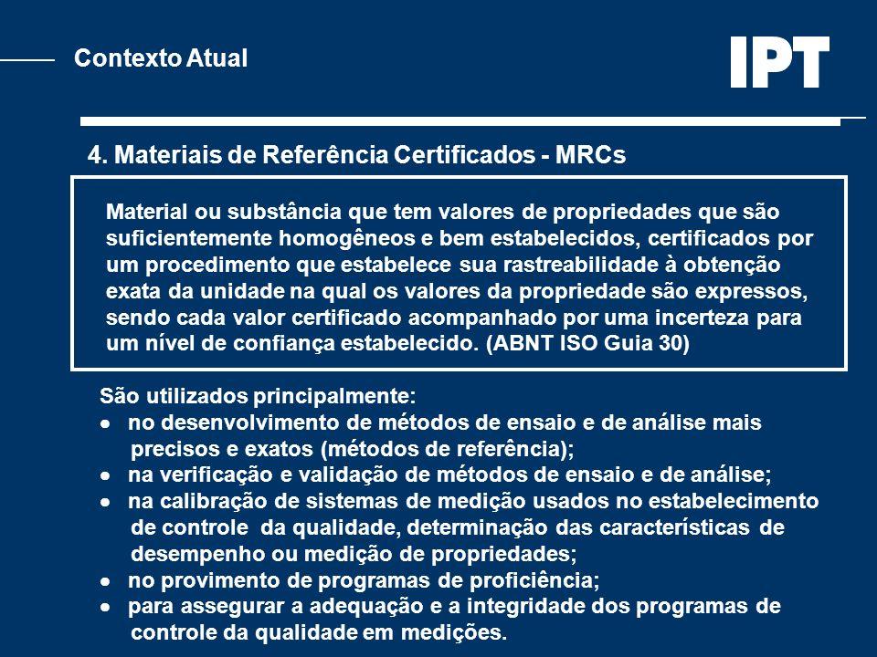 Contexto Atual 4. Materiais de Referência Certificados - MRCs Material ou substância que tem valores de propriedades que são suficientemente homogêneo