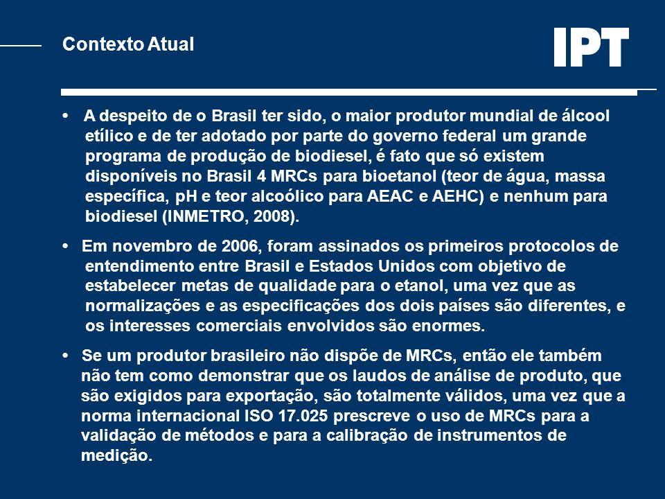 Contexto Atual A despeito de o Brasil ter sido, o maior produtor mundial de álcool etílico e de ter adotado por parte do governo federal um grande pro