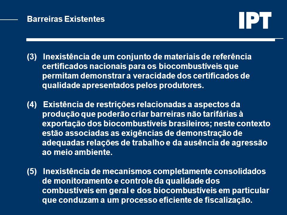 Barreiras Existentes (3) Inexistência de um conjunto de materiais de referência certificados nacionais para os biocombustíveis que permitam demonstrar