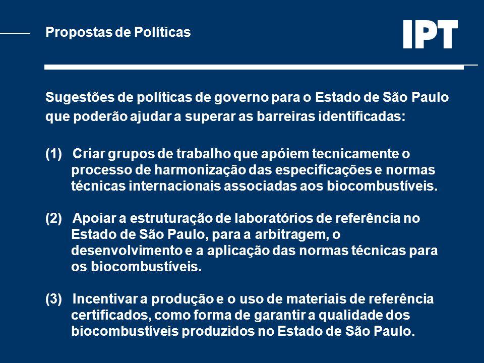 Propostas de Políticas Sugestões de políticas de governo para o Estado de São Paulo que poderão ajudar a superar as barreiras identificadas: (1) Criar