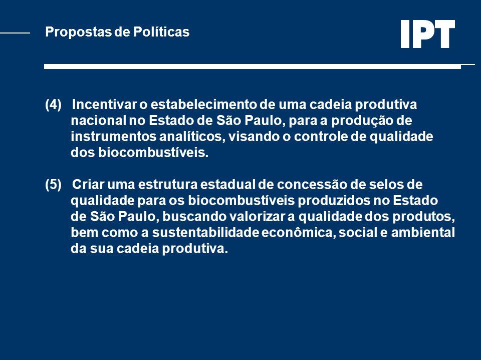 Propostas de Políticas (4) Incentivar o estabelecimento de uma cadeia produtiva nacional no Estado de São Paulo, para a produção de instrumentos analí