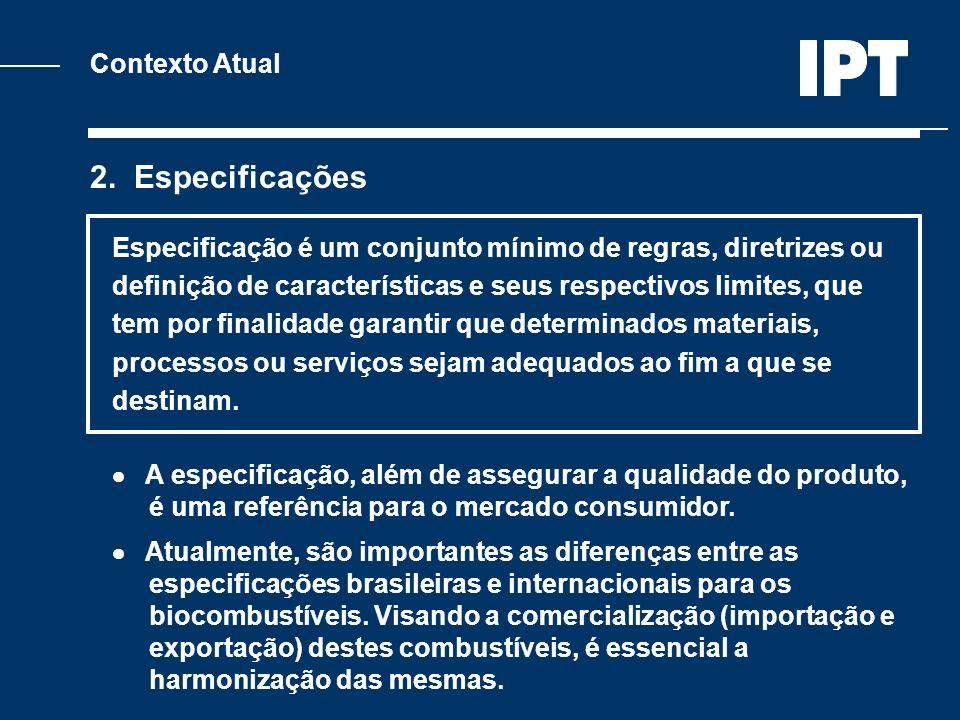 Contexto Atual 2. Especificações Especificação é um conjunto mínimo de regras, diretrizes ou definição de características e seus respectivos limites,
