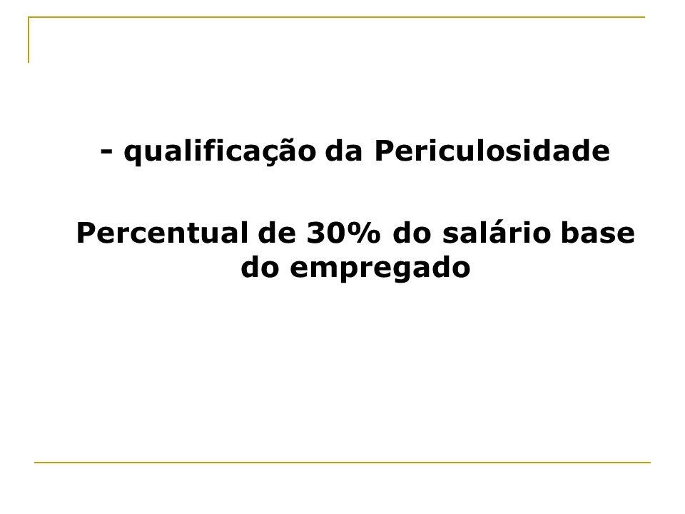 - qualificação da Periculosidade Percentual de 30% do salário base do empregado