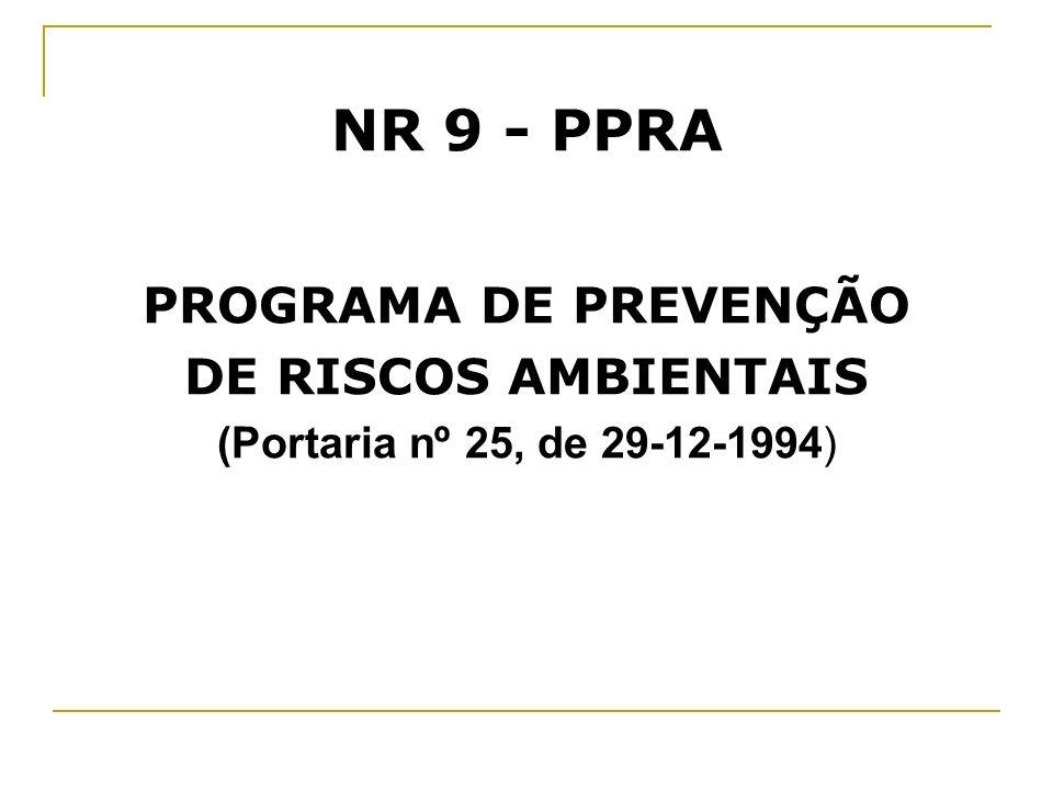 NR 9 - PPRA PROGRAMA DE PREVENÇÃO DE RISCOS AMBIENTAIS (Portaria nº 25, de 29-12-1994)