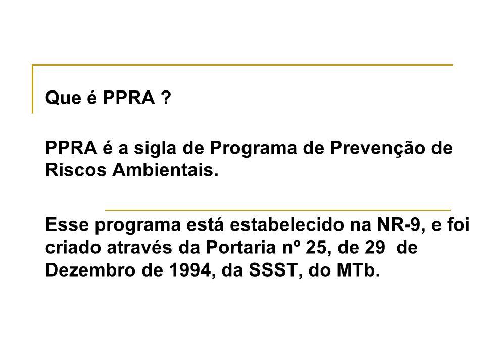 Que é PPRA ? PPRA é a sigla de Programa de Prevenção de Riscos Ambientais. Esse programa está estabelecido na NR-9, e foi criado através da Portaria n