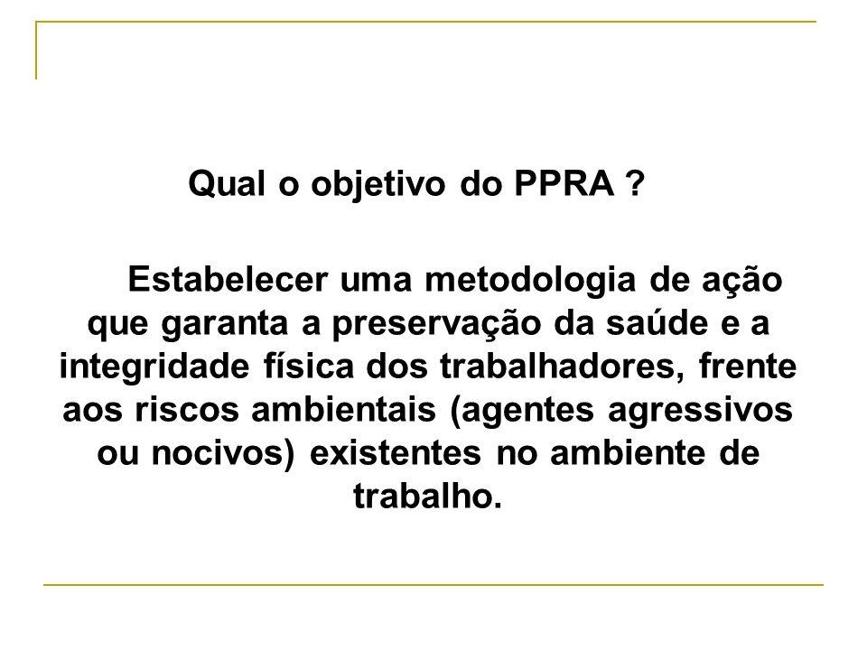 Qual o objetivo do PPRA ? Estabelecer uma metodologia de ação que garanta a preservação da saúde e a integridade física dos trabalhadores, frente aos