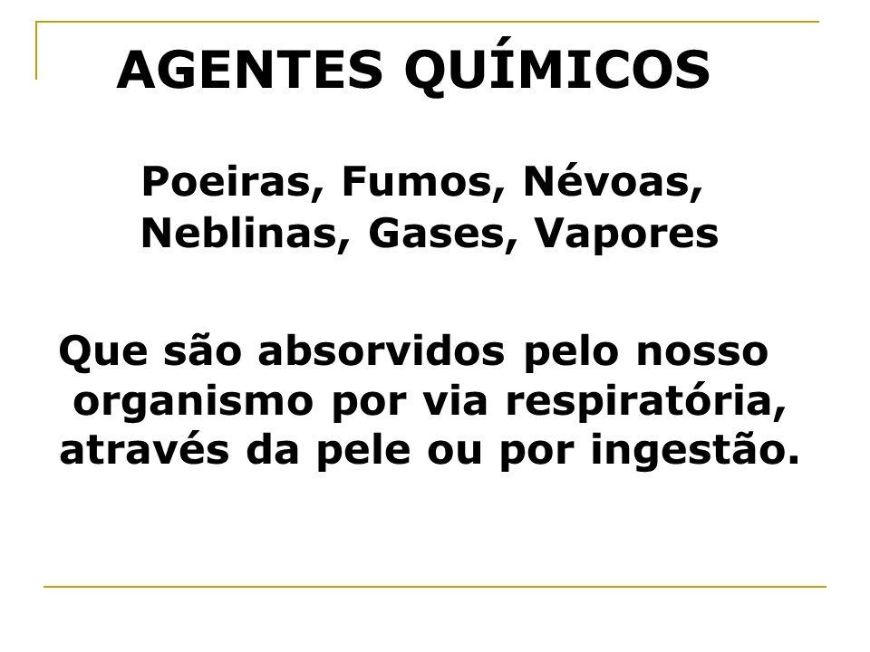 AGENTES QUÍMICOS Poeiras, Fumos, Névoas, Neblinas, Gases, Vapores Que são absorvidos pelo nosso organismo por via respiratória, através da pele ou por