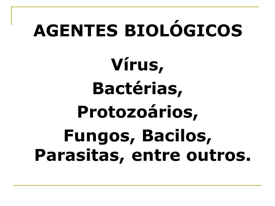 AGENTES BIOLÓGICOS Vírus, Bactérias, Protozoários, Fungos, Bacilos, Parasitas, entre outros.