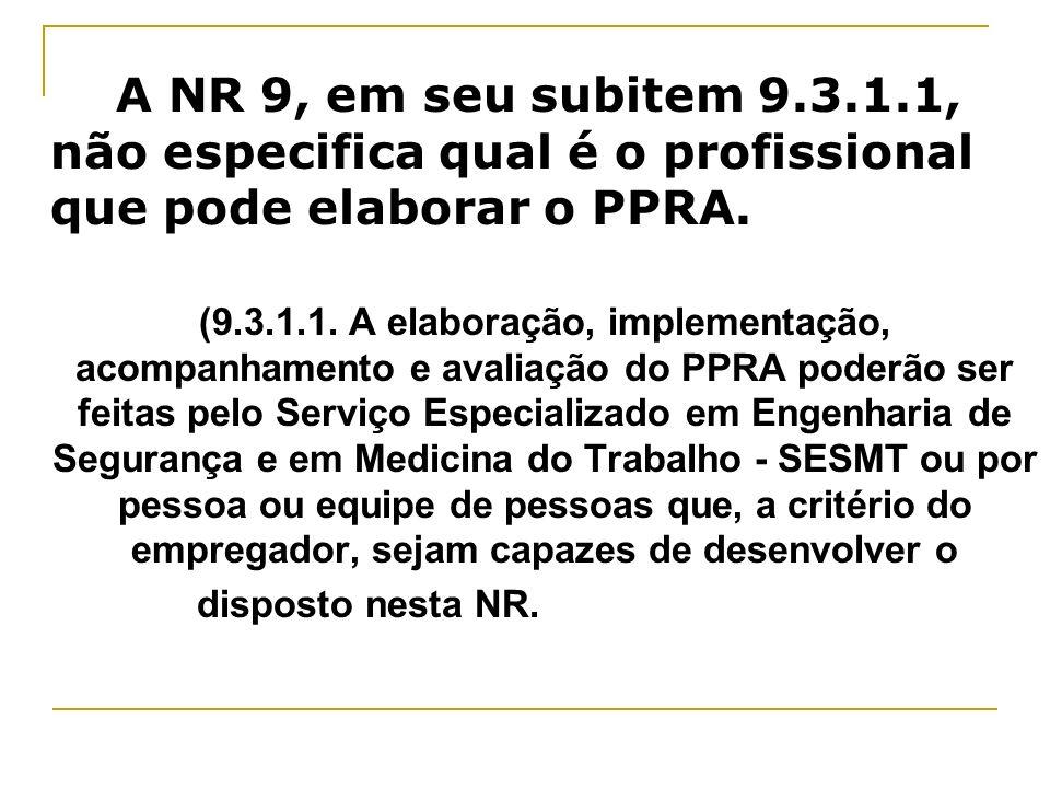 A NR 9, em seu subitem 9.3.1.1, não especifica qual é o profissional que pode elaborar o PPRA. (9.3.1.1. A elaboração, implementação, acompanhamento e